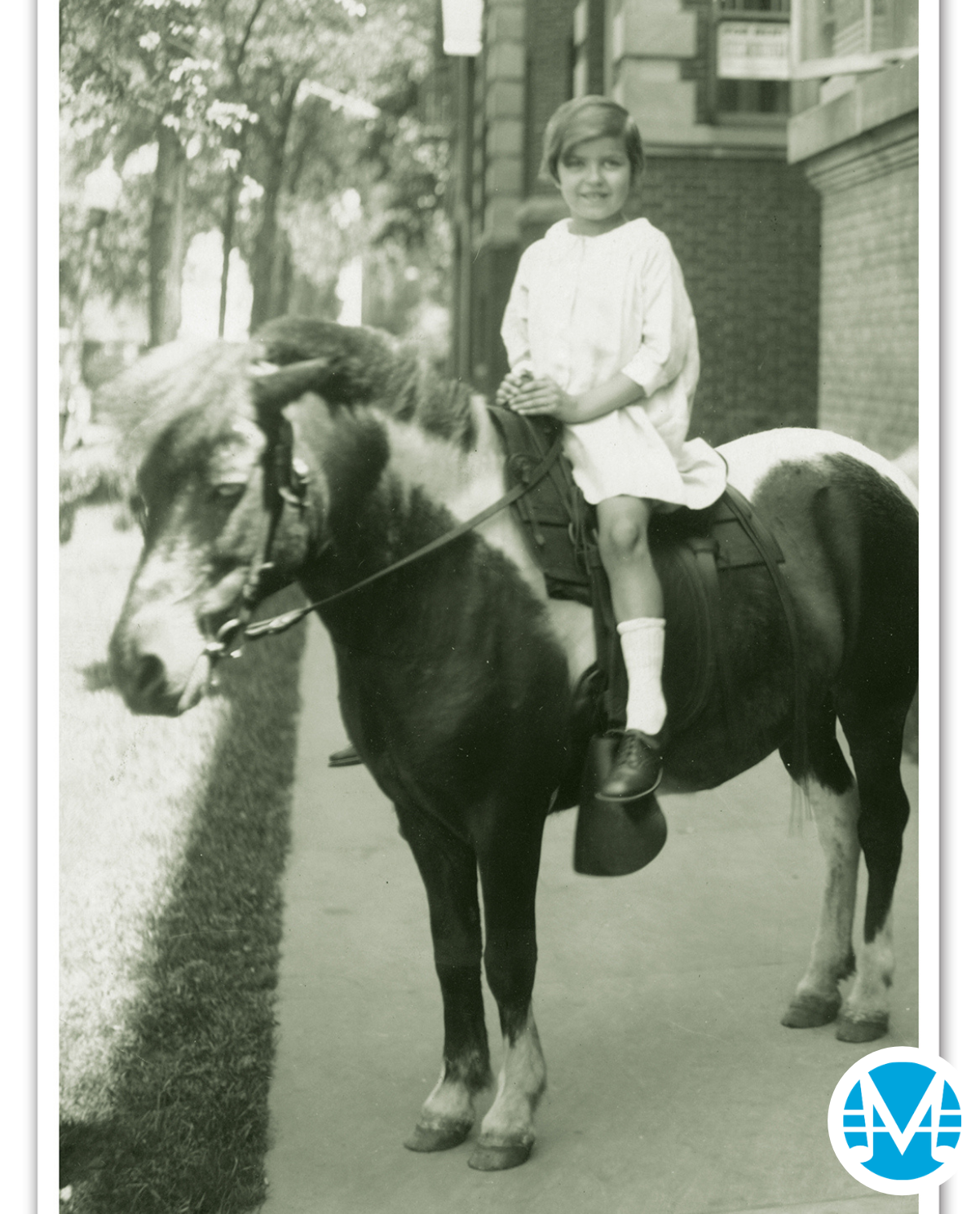 Gus Kahn's daughter, Irene, on a horse.