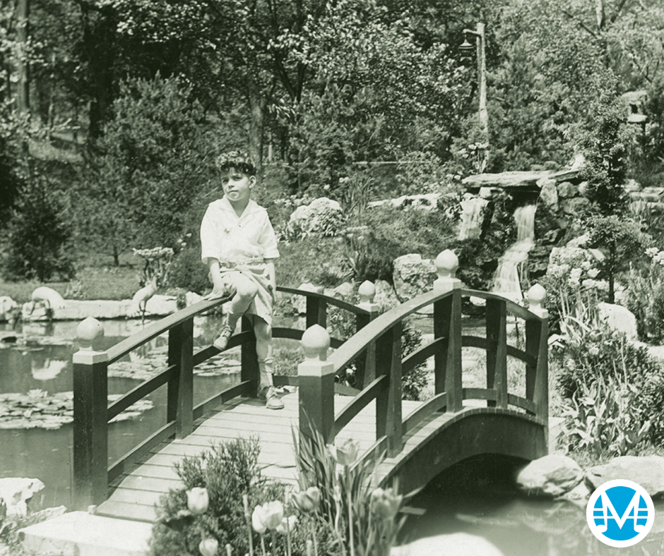 Composer Donald Kahn as a child on a bridge in French Lick, Indiana.